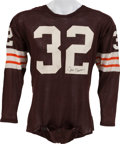 Football Collectibles:Uniforms, Circa 1965 Jim Brown Game Worn Cleveland Browns Jersey, MEARS A10....