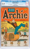 Golden Age (1938-1955):Humor, Archie Comics #1 (Archie, 1942) CGC GD 2.0 Cream to off-white pages....