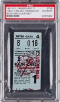 Baseball Collectibles:Tickets, 1951 Mickey Mantle Major League Debut Ticket Stub, PSA Authentic....