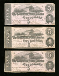 Confederate Notes:1862 Issues, T53 $5 1862. Here are three examples. Fine or Better.. ... (Total:3 notes)