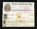 Obsoletes By State:Nevada, Carson City, NV- Carson City Savings Bank $100 Check Jan. 11, 1884. A nice vignette of the bank is found on the check. Also,... (Total: 3 notes)