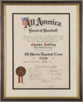 "Autographs:Others, 1938 Charles ""Red"" Ruffing All America Team Certificate Signed byBabe Ruth...."