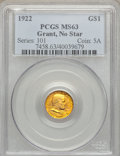 Commemorative Gold, 1922 G$1 Grant No Star MS63 PCGS....