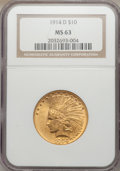 Indian Eagles, 1914-D $10 MS63 NGC....