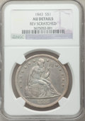 Seated Dollars, 1843 $1 -- Reverse Scratched -- NGC Details. AU. NGC Census:(49/226). PCGS Population (70/184). Mintage: 165,100. Numismed...
