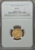Classic Quarter Eagles, 1834 $2 1/2 AU55 NGC. Breen-6140, Variety 4, R.3....