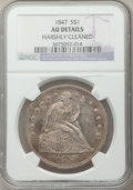 Seated Dollars, 1847 $1 -- Harshly Cleaned -- NGC Details. AU. NGC Census:(39/285). PCGS Population (85/242). Mintage: 140,750. Numism...