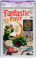 Silver Age (1956-1969):Superhero, Fantastic Four #1 (Marvel, 1961) CGC Apparent VF 8.0 Extensive (P)Off-white pages....