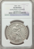 Seated Dollars: , 1847 $1 -- Improperly Cleaned -- NGC Details. AU. NGC Census:(39/285). PCGS Population (85/242). Mintage: 140,750. Numisme...