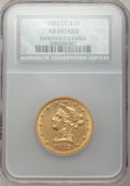 1882-CC $10 -- Improperly Cleaned -- NCS. AU Details. Variety 2-A....(PCGS# 8696)