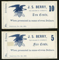 Obsoletes By State:Ohio, Greenwich, OH- J.S. Berry 5¢; 10¢ Dec. 6, 1862 Remainders Wolka1230-01; 1230-02. ... (Total: 2 notes)