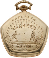 Featured item image of 1923 New York Yankees World Championship Watch Presented to Babe Ruth....