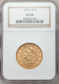 Liberty Eagles: , 1907-S $10 AU58 NGC. NGC Census: (95/193). PCGS Population(46/126). Mintage: 210,500. Numismedia Wsl. Price for problem fr...