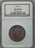 Large Cents, 1820 1C Large Date MS64 Brown NGC. N-10, R.2....