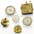 Timepieces:Other , Four Chronometer Movements, Two Clock Mounts For Parts. ... (Total: 6 Items)