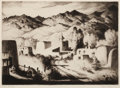 Prints, GENE KLOSS (American, 1903-1996). Village Evening, 1951. Drypoint etching on paper. 10-1/2 x 14-1/2 inches (26.7 x 36.8 ...