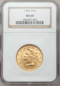 Liberty Eagles: , 1903 $10 MS60 NGC. NGC Census: (48/825). PCGS Population (33/620). Mintage: 125,800. Numismedia Wsl. Price for problem free...