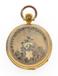 Timepieces:Pocket (pre 1900) , Swiss Gold & Enamel Key Wind Hunter's Case Pocket Watch. ...