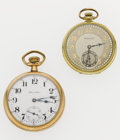 Timepieces:Pocket (post 1900), Two Hamilton's 17 Jewel Open Face Pocket Watches Runners. ...(Total: 2 Items)