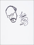 Mainstream Illustration, Frank Oz. Doodle for Hunger, 2001. Ink. 9 x 12 in.. Signed.Benefiting St. Francis Food Pantries and Shelters. ...