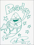 Mainstream Illustration, Dav Pilkey. Doodle for Hunger. Ink. 9 x 12 in.. Signed.Benefiting St. Francis Food Pantries and Shelters. ...