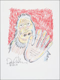 Mainstream Illustration, Daniel Pinkwater. Doodle for Hunger, 2013. Crayon. 9 x 12in.. Signed. Benefiting St. Francis Food Pantries andShel...