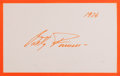 Autographs:Celebrities, Betty Furness (1916-1994, American actress). Autograph Card Signed.1976. Measures 6.5 x 4 inches. Fine.. ...