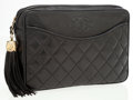 Luxury Accessories:Bags, Chanel Black Quilted Lambskin Leather Camera Clutch with Tassel....