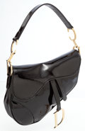 Luxury Accessories:Bags, Dior Black Patent Leather Saddle Bag with Gold Hardware. ...
