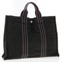 Luxury Accessories:Bags, Hermes Black & Gray Canvas Fourre Tout MM Tote Bag. ...