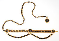 Chanel Black Leather and Gold Chain Belt