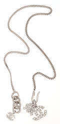 Luxury Accessories:Accessories, Chanel Silver Chain Necklace with CC & Clover. ...