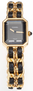 Luxury Accessories:Accessories, Chanel Premiere Ladies Watch with Classic Gold Chain & LeatherStrap Size L. ...