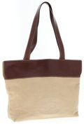 Luxury Accessories:Accessories, Chanel Brown Leather and Beige Canvas Tote Bag. ...
