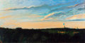 Texas, CHARLES FIELD (American, 20/21st Centuries). Water Tower,Helotes,Texas, 1984. Oil on canvas. 24 x 48 inches (61.0 x121...
