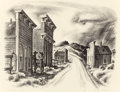 "Texas:Early Texas Art - Drawings & Prints, GERALD WILLIAMSON ""JERRY"" BYWATERS (American, 1906-1989). FalseFronts, Colorado, circa 1939. Lithograph. 10-1/4 x 13-1/..."