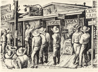 """GERALD WILLIAMSON """"JERRY"""" BYWATERS (American, 1906-1989) Election Day at Balmorhea, 1938 Lithograph<"""