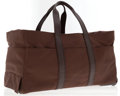 Luxury Accessories:Travel/Trunks, Hermes Brown Nylon Rolling Suitcase. ...