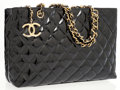 Luxury Accessories:Accessories, Chanel Black Quilted Patent Leather Tote Bag. ...
