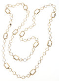 Luxury Accessories:Accessories, Chanel Hammered Gold & Glass Stone Sautoir Necklace. ...