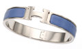 Luxury Accessories:Accessories, Hermes Lilac Enamel Narrow Clic-Clac H GM Bracelet with Palladium Hardware. ...