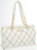Luxury Accessories:Bags, Chanel White Leather Shoulder Bag with Multicolor Stitching . ...