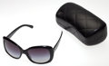 Luxury Accessories:Accessories, Chanel Black Acetate Sunglasses with Silver CC Detail. ...