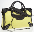 Luxury Accessories:Accessories, Balenciaga Yellow Canvas Motorcycle Bag with Black Leather Accents. ...