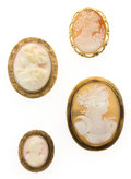 Estate Jewelry:Cameos, Shell Cameo, Gold Brooch Lot. ... (Total: 4 Items)