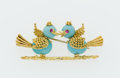 Estate Jewelry:Brooches - Pins, Ruby, Turquoise, Gold Love Birds Brooch. ...