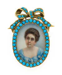 Victorian Turquoise, Painted Portrait, Gold Pendant-Brooch-Locket