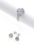 Estate Jewelry:Suites, Star Sapphire, Diamond, White Gold Jewelry suite. ... (Total: 2Items)