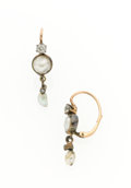 Estate Jewelry:Earrings, Antique Cultured Pearl, Diamond, Earrings. ...