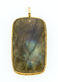 Estate Jewelry:Pendants and Lockets, Antique Labradorite, Gold Pendant-Brooch. ...